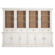 White Kitchen Dresser bleached pine farmhouse kitchen dresser with lower drawers - trade