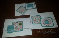 Some of the One Sheet Wonder Cards I made using CTMH Lollydoodle paper.