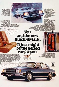 1980 Buick Skylark Sedan original vintage advertisement.