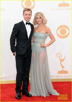 Julianne Hough poses for a pic with her Emmy Award winning brother Derek at the at the 2013 Emmy Awards held at the Nokia Theatre L.A. Live on Sunday (September 22) in Los Angeles.