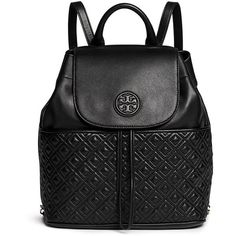 Tory Burch 'Marion' quilted leather backpack ($635) ❤ liked on Polyvore