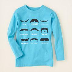 boy - graphic tees - ls moustache tee | Children's Clothing | Kids Clothes | The Children's Place