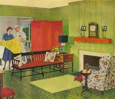 1940 Elegant Living Room Decor 1940s Living and Dining Room