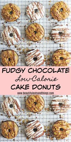 This is the BEST Lo-Calorie donut recipe ever! They are super easy to make and are completely guilt-free! Low Calorie Chocolate, Healthy Chocolate Desserts, Chocolate Cake Donuts, Healthy Donuts, Healthy Vegan Snacks, Chocolate Recipes, Delicious Desserts, Low Calorie Baking, Low Calorie Cake