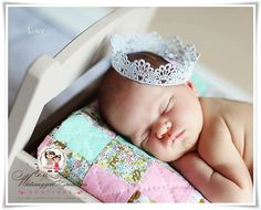 Shimmery Silver Lace Crown  Newborn Crown  by WhitesugarCreations, $9.95