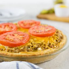 A recipe for Skinny Cheeseburger Pie using extra lean ground turkey.