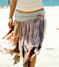 Boho tattered skirt ~~ Bleached and hand dyed Cotton skirt; faded green and orange -Destructed/tattered look;