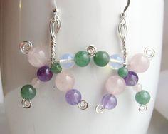 Dancing Gem Earrings-Statement Earrings-Multi Gemstone Earrings-Sterling Silver Wire Work Earrings- Vegan Earrings-Sculptural-Wearable Art by WaterRhythmGems on Etsy