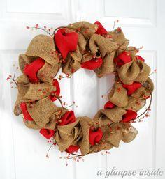 Ruffled Burlap Berry Wreath