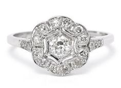 #Vintage #Style 0.60ct Old Cut #Diamond #Cluster Ring 18ct White Gold #wedding #engagement