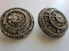 Vintage Buttons - 2 large matching 1 inch beautiful rhinestone embellished, circle pattern, set in antique gold metal,(lot 5538). $12.95, via Etsy.