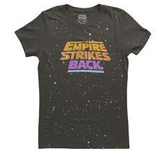Womens Empire Strikes Back Galaxy Vintage Black T-Shirt