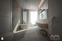 Projekt domu w Józefowie - Duża łazienka w domu jednorodzinnym jako salon kąpielowy z oknem, styl minimalistyczny - zdjęcie od Ania Masłowska