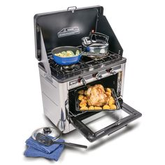 Roastmaster Portable Gas Oven and Hob available at Caravan Accessory Shop. The Roast Master oven with double gas hob is a fantastic addition for any camper or caravanner - allows you to cook all your favourite meals with ease whilst away! Grill Oven, Gas Oven, Roast Master, Camping Oven, Camping Kitchen, Oven Burner, Oven And Hob, Plate Shelves, Large Oven