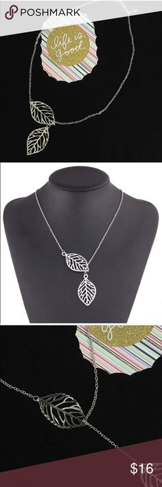 Silver Double Leaf Adjustable Necklace Pretty delicate silver tone double leaf adjustable necklace. Perfect for fall! The one leaf can be moved on the chain to make the necklace longer plus it has an extender. The leaves are very thin and bend easily. Smoke free home. 🌺Thank you for shopping my closet 😊🌺 Jewelry Necklaces
