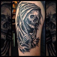 Black ink death tattoo on shoulder by Marie Sena - Tattooimages.biz