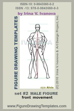 this male figure drawing template designed for drawing male body in front view with mild movement.