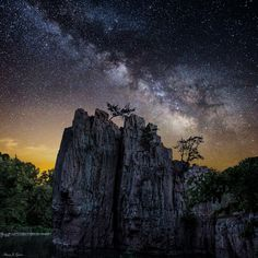 """""""King and Queen Rock Milky Way"""" Milky Way stars shine bright over King and Queen rock. Taken at Palisades State Park, South Dakota."""