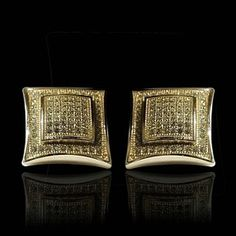 Men's 14K Gold Over Large Square Diamond Screw Back Earrings Size 14MM by JewelryHub on Opensky