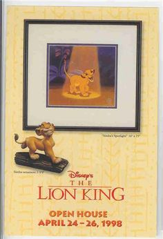 Walt Disney Classic Collection (WDCC) Lion King Spotlight Never Sold Promotional Print.  This Promotional Print was used by the Walt Disney Classic Collection for promotional purposes and was never sold to the public. Only given to dealers. This is nice enough to frame. 4 inches by 6 inches.