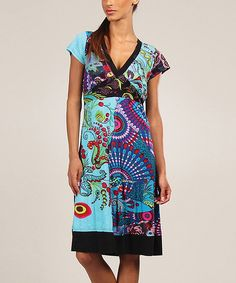 Look at this Aller Simplement Turquoise Geometric Patchwork V-Neck Dress on #zulily today!