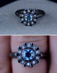Arc Reactor Inspired Engagement Ring 14K White Gold, Black Rhodium, Aquamarine & Princess Cut Diamonds, Iron Man Custom Order Made To Order http://www.etsy.com/listing/155549875/arc-reactor-inspired-engagement-ring-14k#f