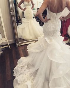 Princess Prom Dresses, 2019 Gorgeous Spaghetti Straps Mermaid/Trumpet Wedding Dresses With Covered Button, Plus Size Formal Dresses and Plus Size Party Dresses are great for your next special Occassion at cheap affordable prices The Dress Outlet. Western Wedding Dresses, Wedding Dresses With Straps, Perfect Wedding Dress, Dream Wedding Dresses, Bridal Dresses, Maxi Dresses, Big Bust Wedding Dress, Wedding Sundress, Wedding Frocks