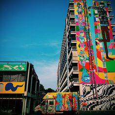 Terminei finalmente o grande mural de 37metros em Hogevecht !!!  Porém ainda há uma garagem pra pintar ! Ação urbanista intensa no bairro ! #xxxrua #ruaart #rim #rimon #rimonguimaraes #urbe #hogevecht #holland #van #garage #bijlmer #bigwall #mural #Cores #loveart