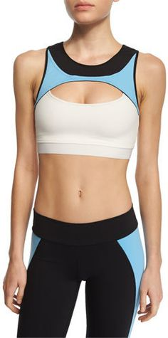 Live the Process Contour Colorblock Sports Bra, Sky/White/Black