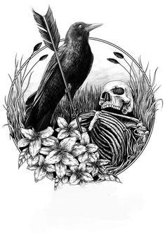 16 Tattoo, Dark Tattoo, Crow Art, Raven Art, Dark Art Illustrations, Illustration Art, Desenho Tattoo, Skull Art, Cow Skull