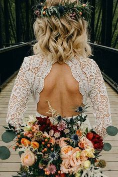 Fall wedding bouquet, opens back long sleeve lace dress