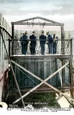 """Hilario Hidalgo and Francisco Renteria hanged on July 31, 1903. Yavapai County Courthouse Prescott, Arizona The Los Angeles Times reported that during the reading of their death warrant one of the condemned cried out — """"I have heard that repeated so often that if it was a song I would sing it to you,""""   — and with """"perfect nerve"""" checked out, calling only """"Adios! Adios!"""" from the scaffold. It was the last hanging in Prescott, Arizona"""