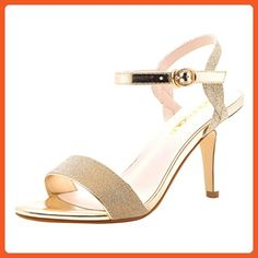 T&Grade Women Fashion Elegant Open Toe Ankle Strap Sling Back Wedding High Heel Sandals(8 B(M) US, Gold) - Sandals for women (*Amazon Partner-Link)