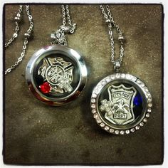 Policeman, Firefighter, EMT, Hero Locket Necklace- Plain Silver Medium (25mm) glass locket on Etsy, $26.00