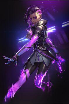 Sombra by Yujin Koh. Overwatch Comic, Paladins Overwatch, Overwatch Fan Art, Overwatch Drawings, Arte Cyberpunk, Cyberpunk Girl, Cyberpunk 2077, Akali League Of Legends, Gijinka Pokemon