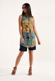 Arizona – Lang geschnittenes Hemd mit Patchwork-Muster