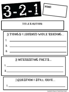 3-2-1 (I've been doing a version of this during GR....would be great to have this as a laminated version for students to use in their book boxes and/or at the GR table).