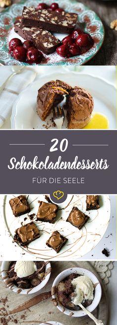 Schokolade heilt Wunden, tröstet über Kummer hinweg und – na klar – Schokolade macht glücklich! Wie wir das braune Gold am liebsten mögen? Als lauwarmes Küchlein, knusprigen Crumble, cremige Mousse, zartes Eis, … . Okay okay – eigentlich mögen wir alles, was mit Schokostückchen gefüllt und von Schokosauce überzogen ist.
