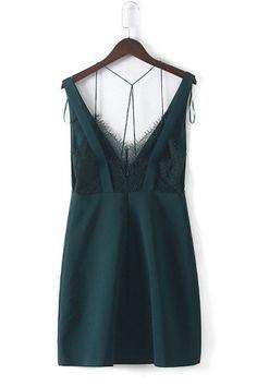 Green Lace V Neck Bodycon Mini Dress