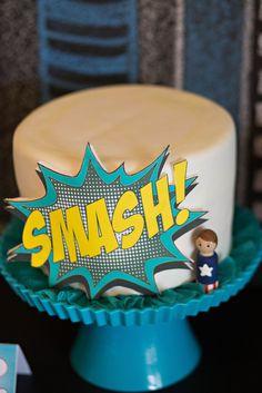 "Superhero ""smash!"" cake -- make in tiny form for the birthday boy to enjoy"