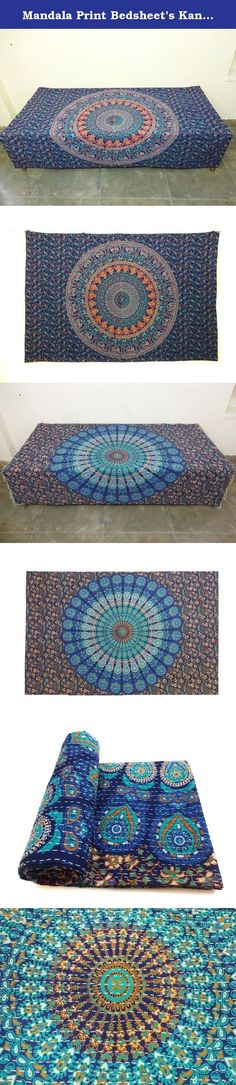Mandala Print Bedsheet's Kantha Quilt Indian Handmade Cotton Bedspread Bed Throw Bedding Cover. Uses: Bedding,bed throw, bed spread, sofa cover, bed sheet, table cover, coverlet, curtains, wall hanging etc Material: 100% Cotton mandala tapestries. Size: 78 X 50 inches Weight: 0.85 Kg, 1.88 lbs ItemCode: IHHA02 Type: Quilt Work: Kantha process: Handmade Color: multi color Size: Twin Pattern: Floral Country: India Shipping From:India About New Mandala Bedsheet kantha quilt This New Bedsheet...