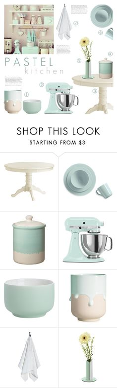 """""""Pastel Kitchen"""" by c-silla ❤ liked on Polyvore featuring interior, interiors, interior design, home, home decor, interior decorating, Pier 1 Imports, Real Simple, Dot & Bo and KitchenAid"""