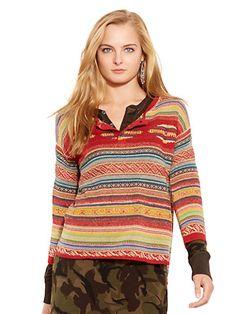 Serape Linen-Blend Henley - Crewnecks & Tanks  Sweaters - RalphLauren.com