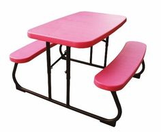 Gentil 80156 Lifetime Childrenu0027s Picnic Table Pink Folding Table   Lightweight  Polyethylene Plastic Table Top And Benches, With Sturdy Steel Framing.