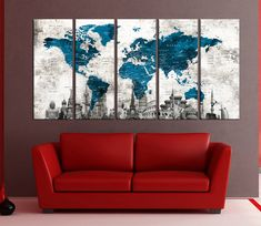 Canvas prints add a unique touch to your home. Modern, stylish and unique design will be the most special piece of your decor. Especially for those who like abstract works, black and white acrylic painting can be prepared in desired sizes  abstract wall art push pin world map canvas print, extra large wall art, world map push pin, wonders of the world detailed map No:6S32  i designed the watercolor map on photoshop. you will receive high resulation canvas print   ◆ GALLERY WRAPPED CANVASES…