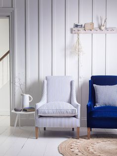 ... With A High Back And Gently Sloping Arms, Standing On Beechwood Legs.  These Armchairs Are Show In A Blue Velvet Fabric As Well As A Designer ...
