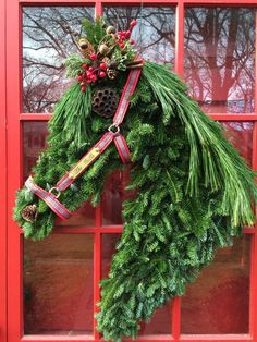Check out our horse head wreath selection for the very best in unique or custom, handmade pieces from our wreaths & door hangers shops. Christmas Horses, Cowboy Christmas, Christmas Holidays, Christmas Crafts, Christmas Nails, Horse Head Wreath, Holiday Wreaths, Holiday Decor, Western Christmas Decorations