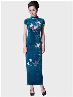 Women's Velvet Polyester Blue Ankle-length Beading Cheongsam Dress