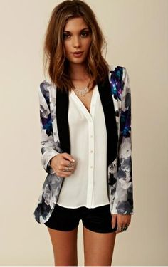 floral blazer- Just bought one similar to this from urban outfitters... I hadn't even thought about putting it with black shorts!
