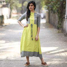 RustOrange Lime and Grey Khadi Solid Anarkali Kurti